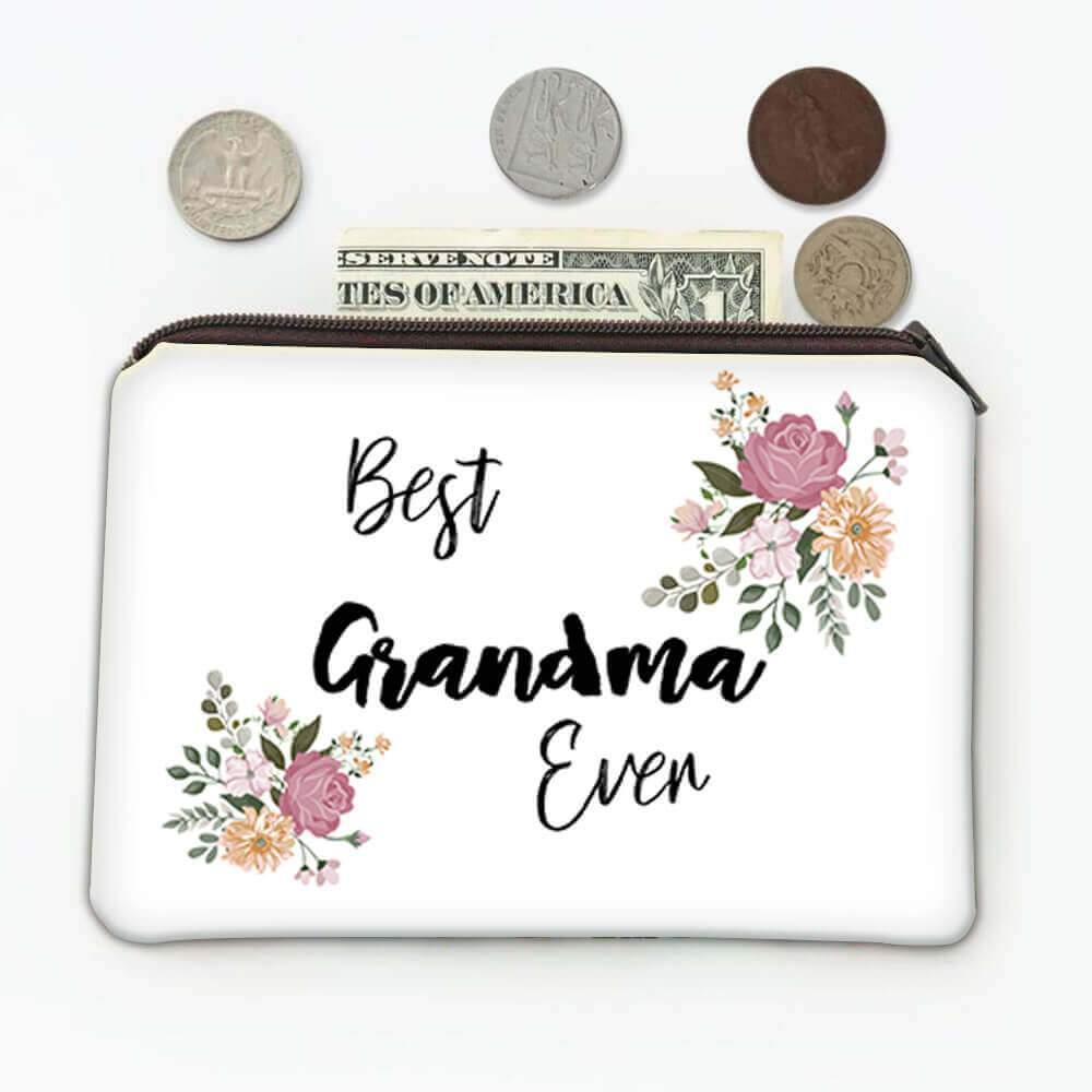Best GRANDMA Ever : Gift Coin Purse Flowers Floral Boho Vintage Pastel