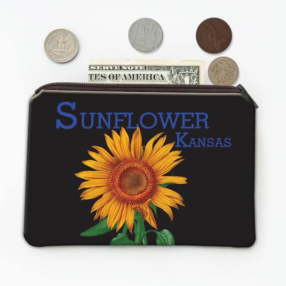 Sunflower Kansas : Gift Coin Purse Flower Floral Yellow Decor