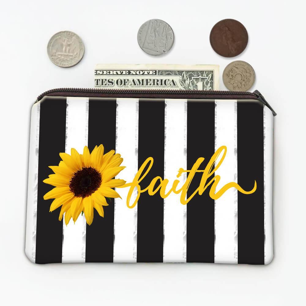 Sunflower Faith : Gift Coin Purse Flower Floral Religion Decor Christian Catholic