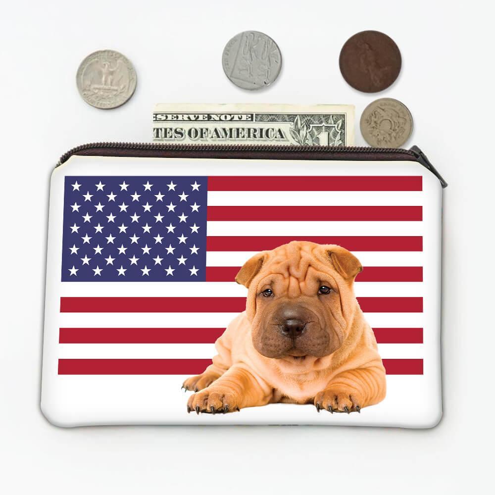 Shar Pei Dad USA Flag : Gift Coin Purse American Dog Pet Animal Cute Patriotic