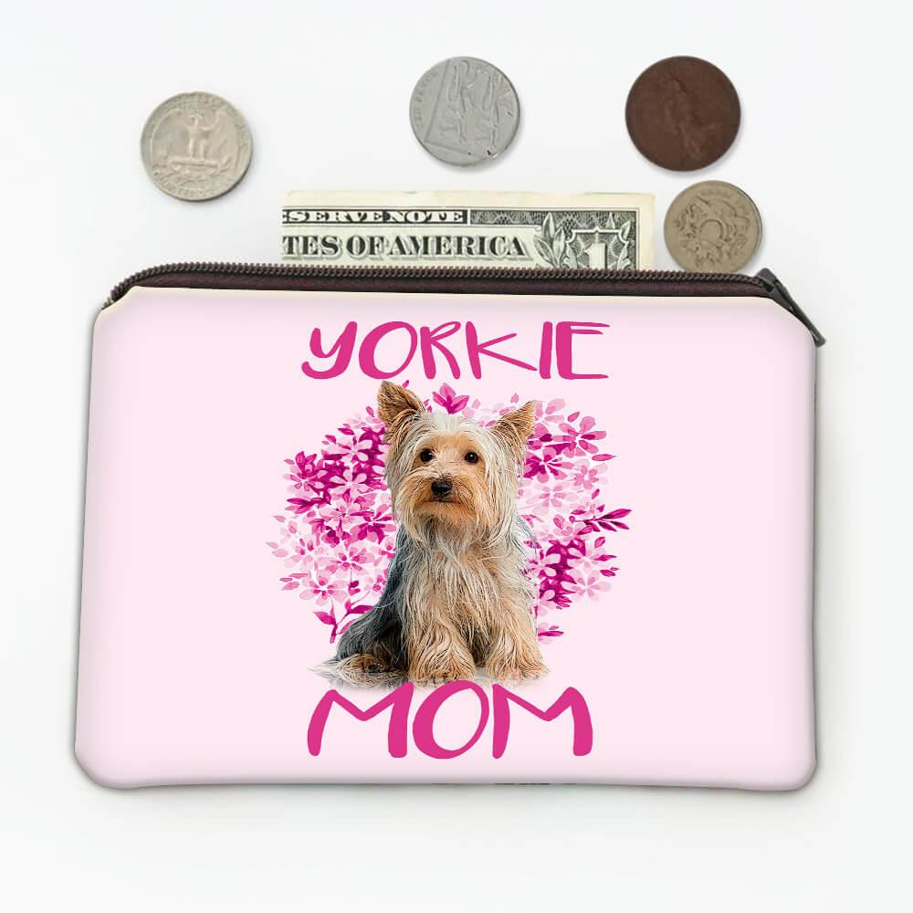 Yorkie Mom Flowers : Gift Coin Purse Cute Yorkshire Dog Pet Dogs