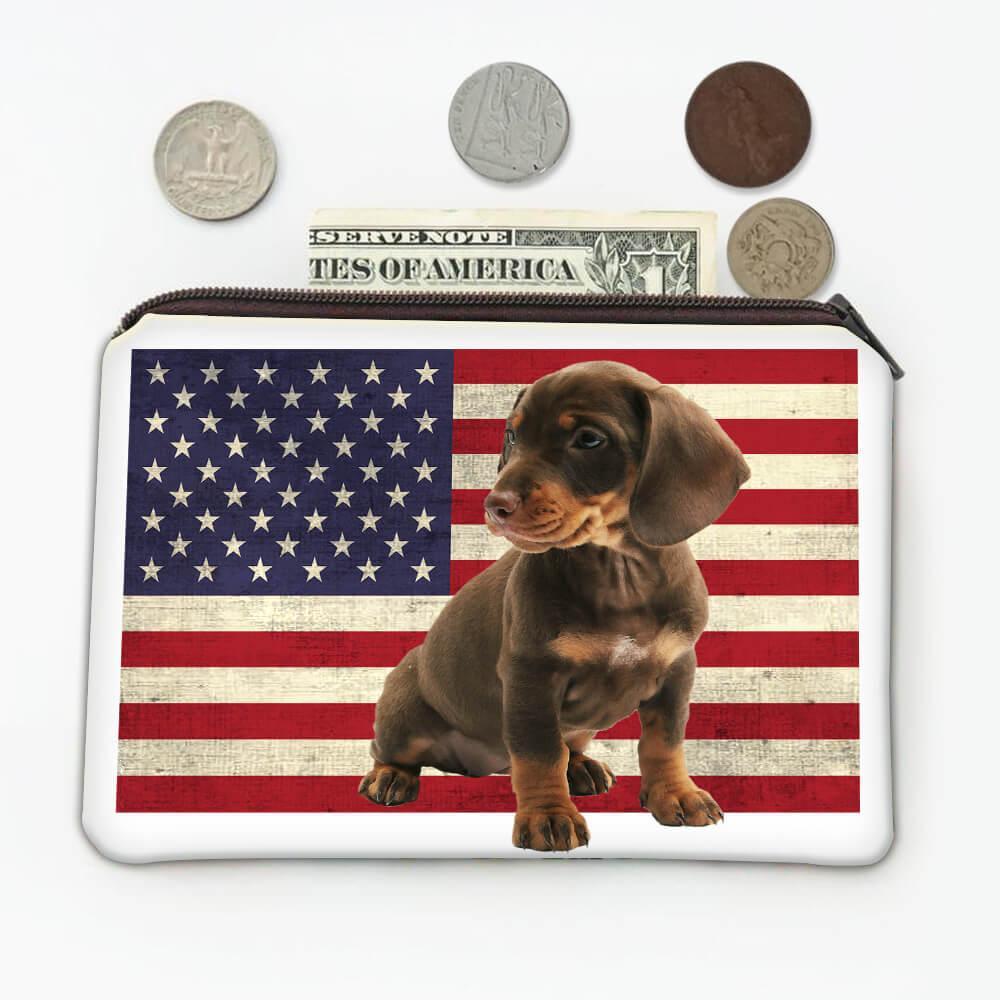 Dachshund USA Flag : Gift Coin Purse Dog Weenie Animal Pet Canine Pets Dogs