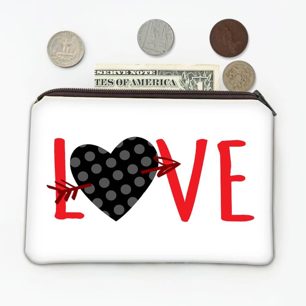 Heart Polka Dots : Gift Coin Purse Valentines Day Love Romantic Girlfriend Wife Boyfriend Husband