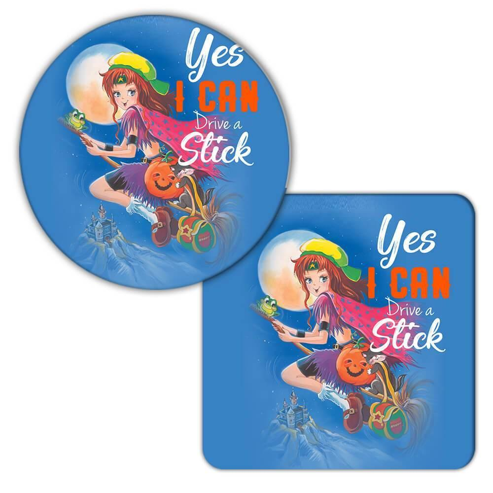 WITCH Halloween : Gift Coaster Fall Face Decoration Cute Yes I Can Drive a Stick