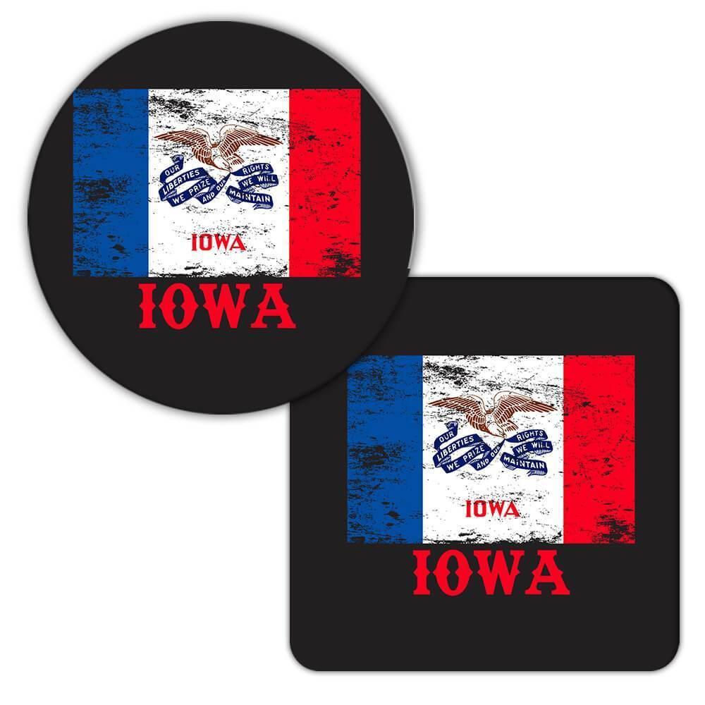 Iowa : Gift Coaster Flag Distressed Souvenir State USA Christmas Coworker