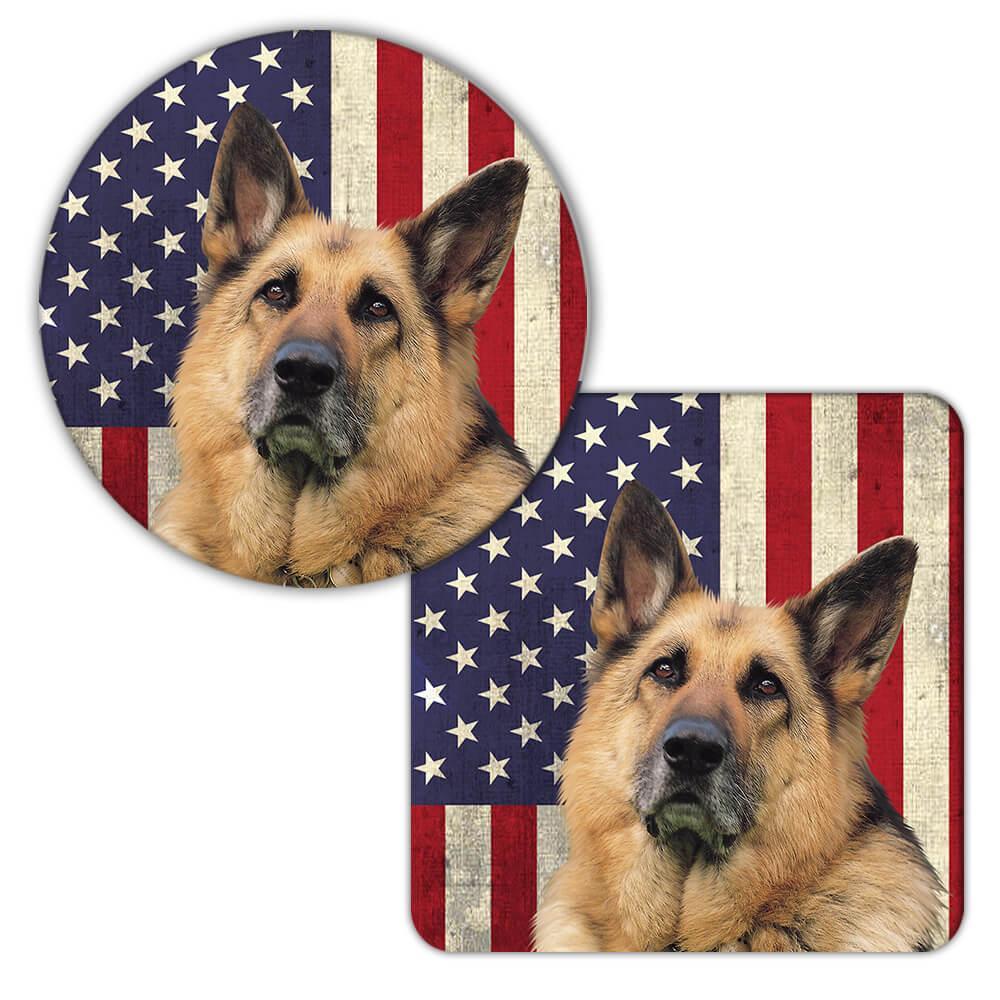 German Shepherd USA Flag : Gift Coaster Dog Pet K-9 United Police America