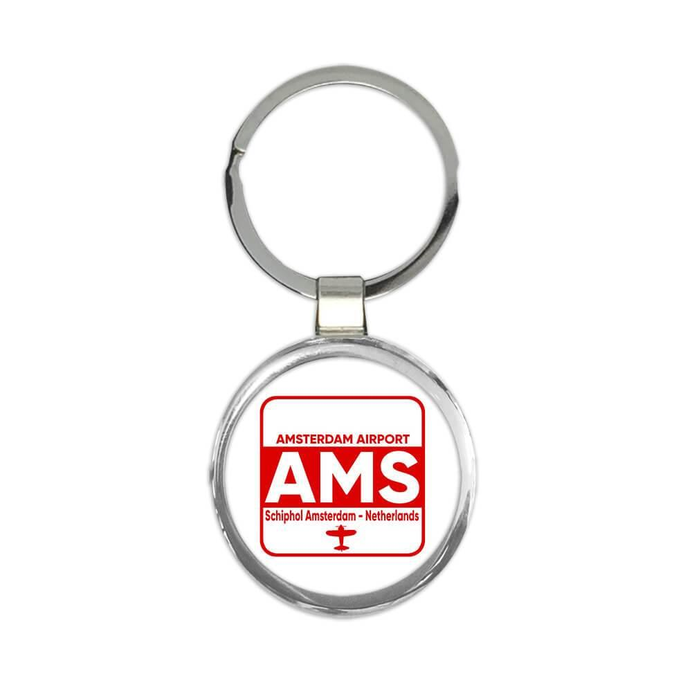 Netherlands Amsterdam Airport Schiphol AMS : Gift Keychain Travel Airline AIRPORT