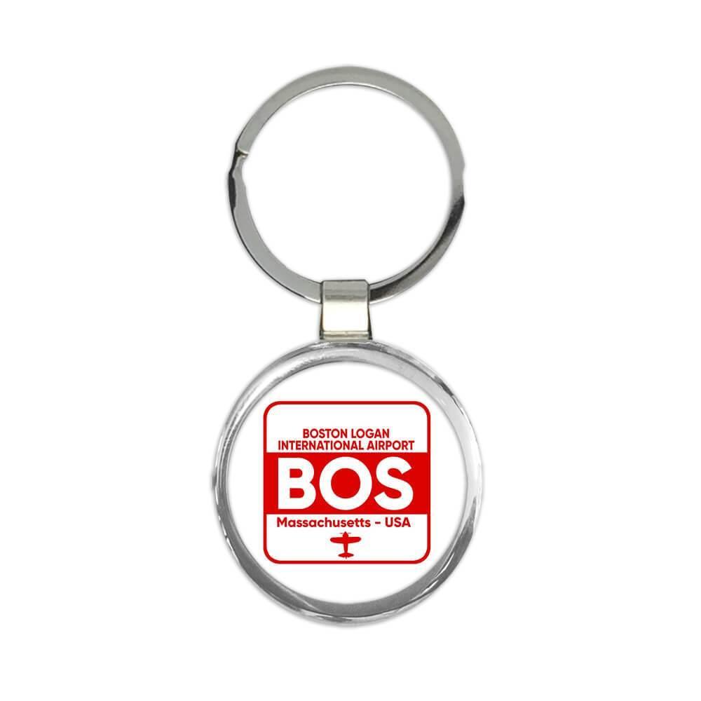 USA Boston Logan Airport Massachusetts BOS : Gift Keychain Travel Airline AIRPORT