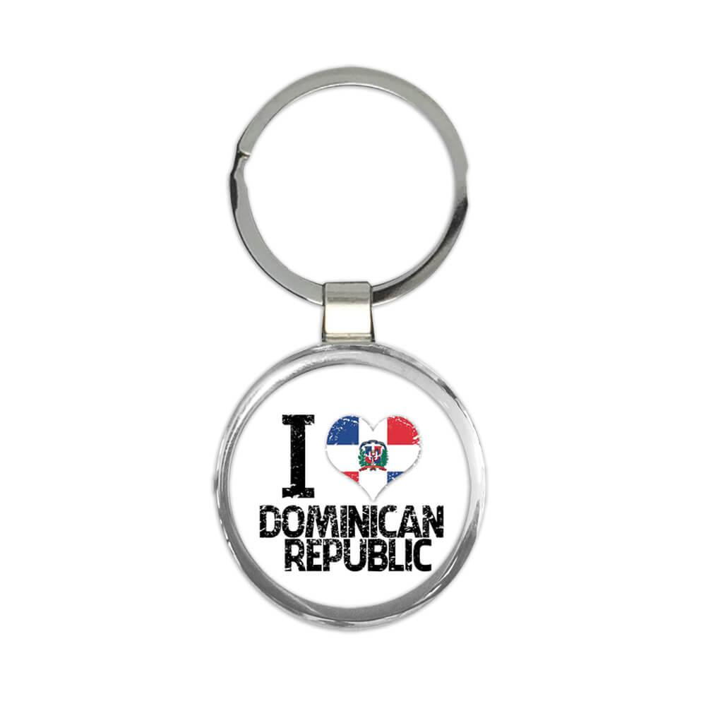 I Love Dominican Republic : Gift Keychain Heart Flag Country Crest Dominican Expat