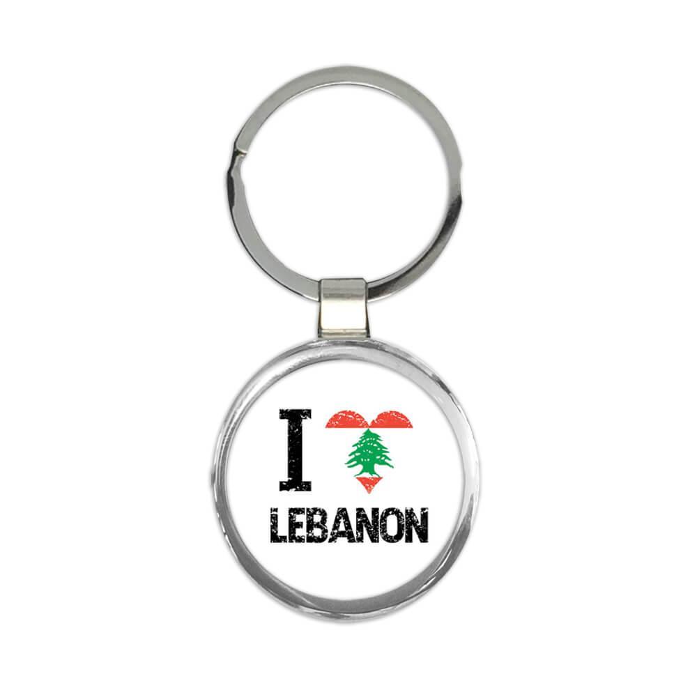I Love Lebanon : Gift Keychain Heart Flag Country Crest Lebanese Expat