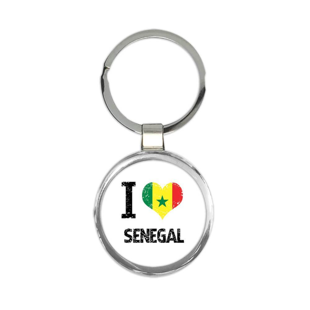 I Love Senegal : Gift Keychain Heart Flag Country Crest Senegalese Expat