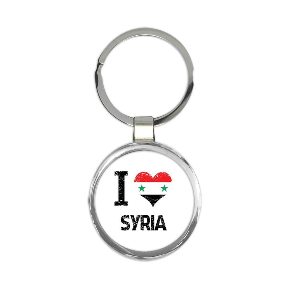 I Love Syria : Gift Keychain Heart Flag Country Crest Syrian Expat