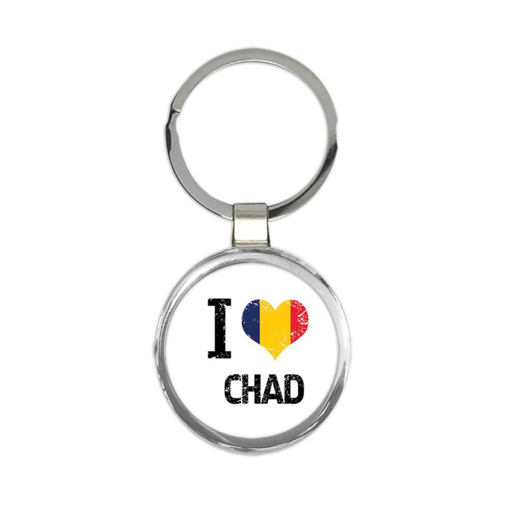 I Love Chad : Gift Keychain Heart Flag Country Crest Chadian Expat