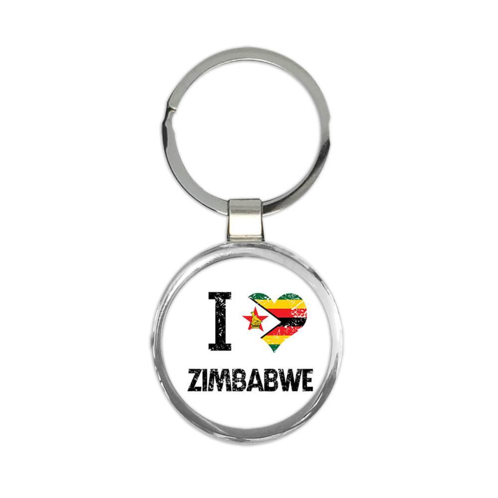 I Love Zimbabwe : Gift Keychain Heart Flag Country Crest Zimbabwean Expat