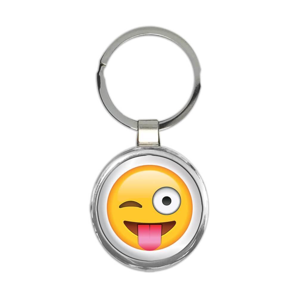 Wink Emoji Tongue : Gift Keychain Funny Emoticon Social Media Cute