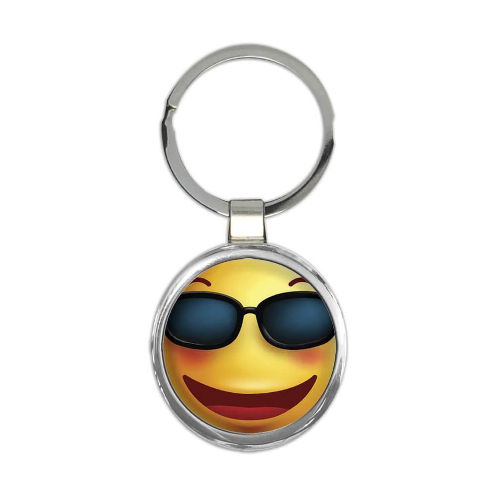 Sunglasses Emoji : Gift Keychain Funny Geek Social Media Funny