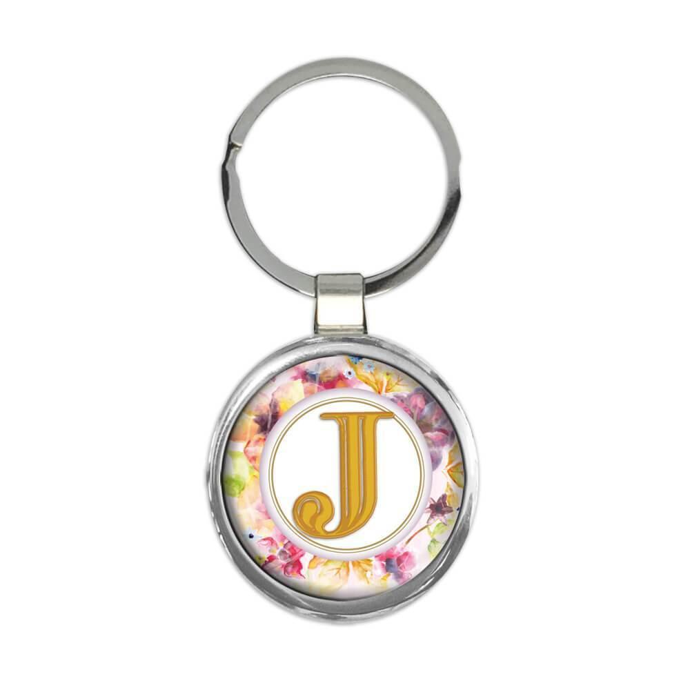 Monogram Letter J : Gift Keychain Name Initial Alphabet ABC