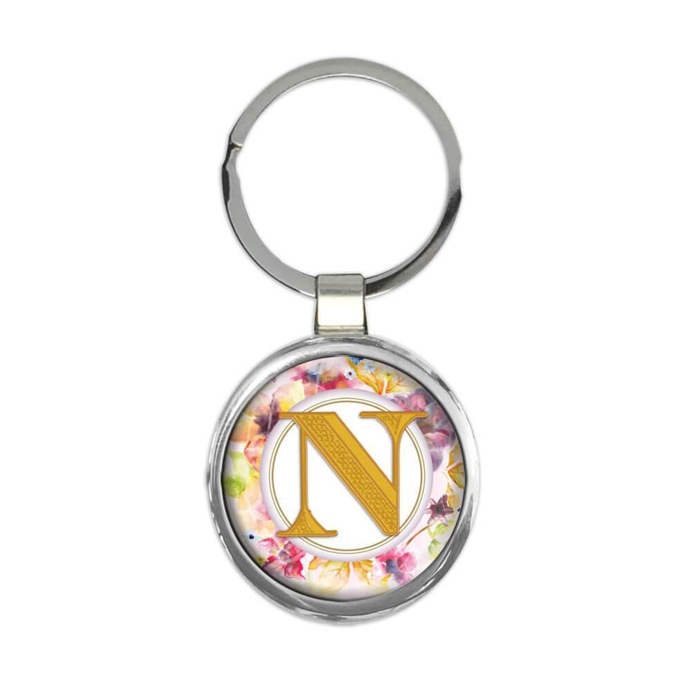 Monogram Letter N : Gift Keychain Name Initial Alphabet ABC