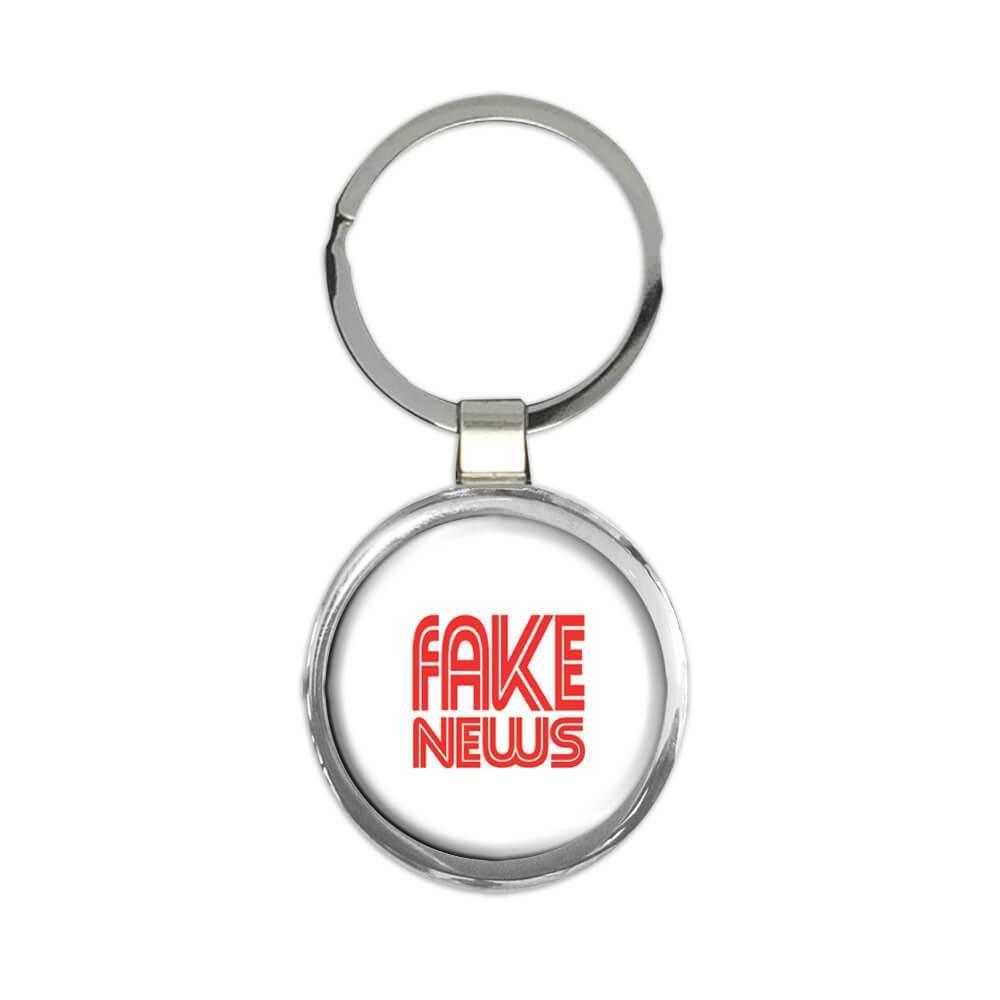 Fake News : Gift Keychain CNN Font Trump Politics Funny MAGA Keep America Great