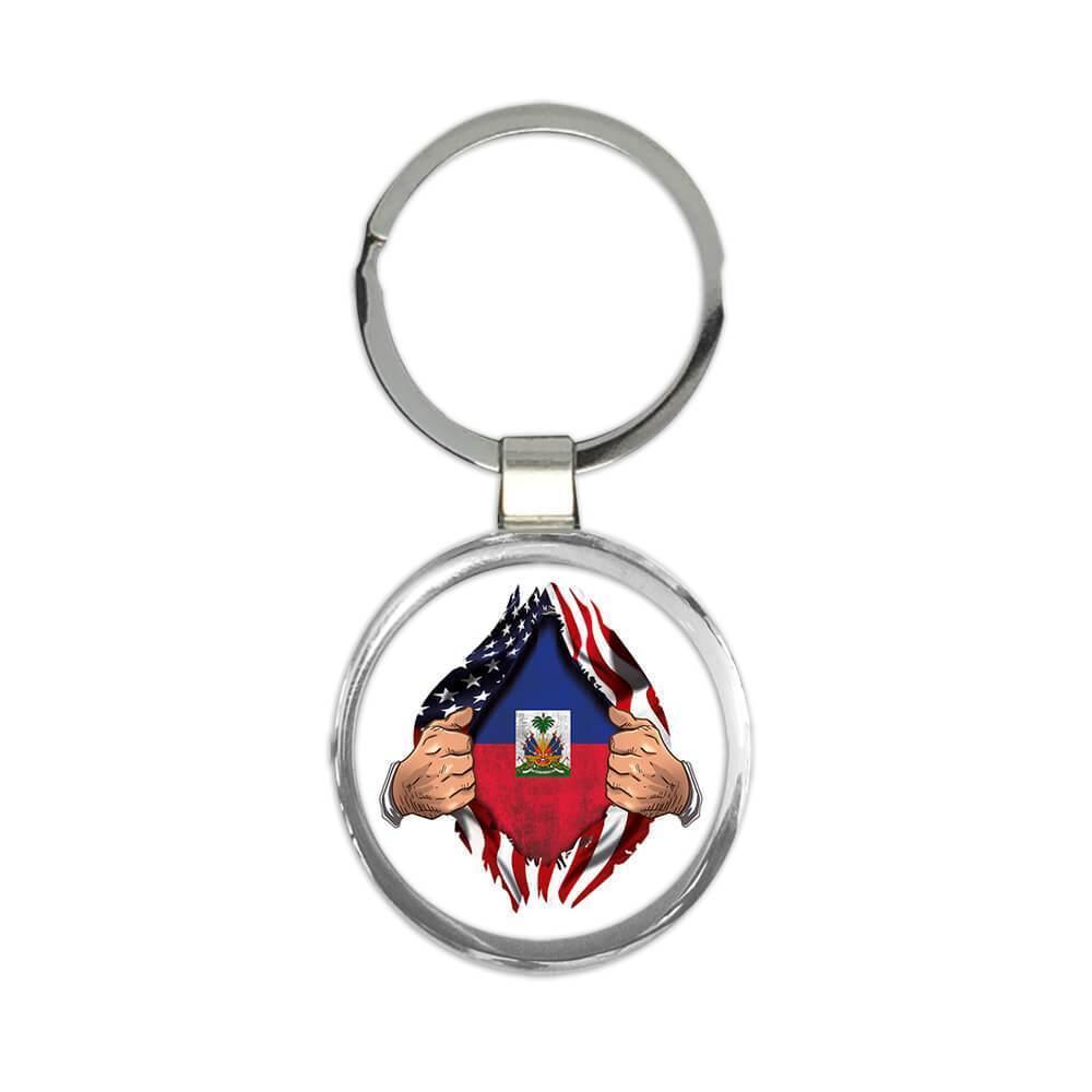 Haiti : Gift Keychain Flag USA Chest American Haitian Expat Country