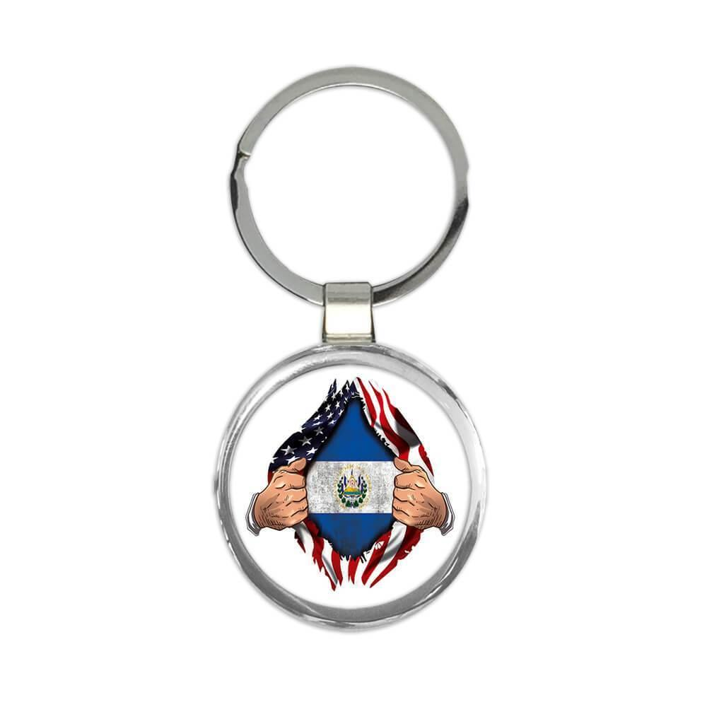 El Salvador : Gift Keychain Flag USA Chest American Salvadorean Expat Country