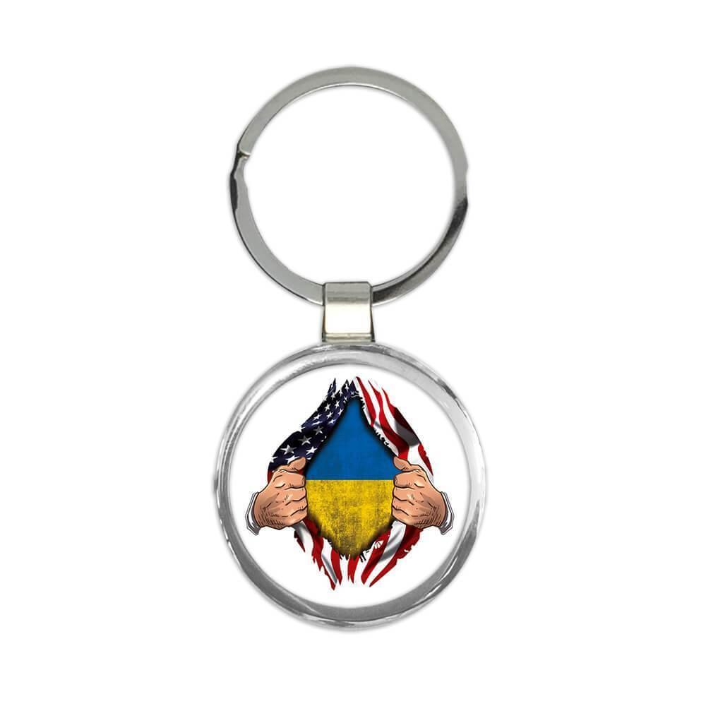 Ukraine : Gift Keychain Flag USA American Chest Ukrainian Expat Country