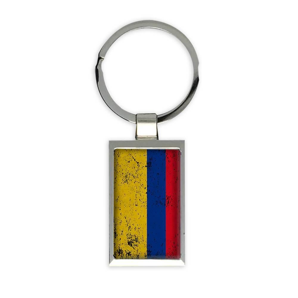 Colombia : Gift Keychain Flag Retro Artistic Colombian Expat Country