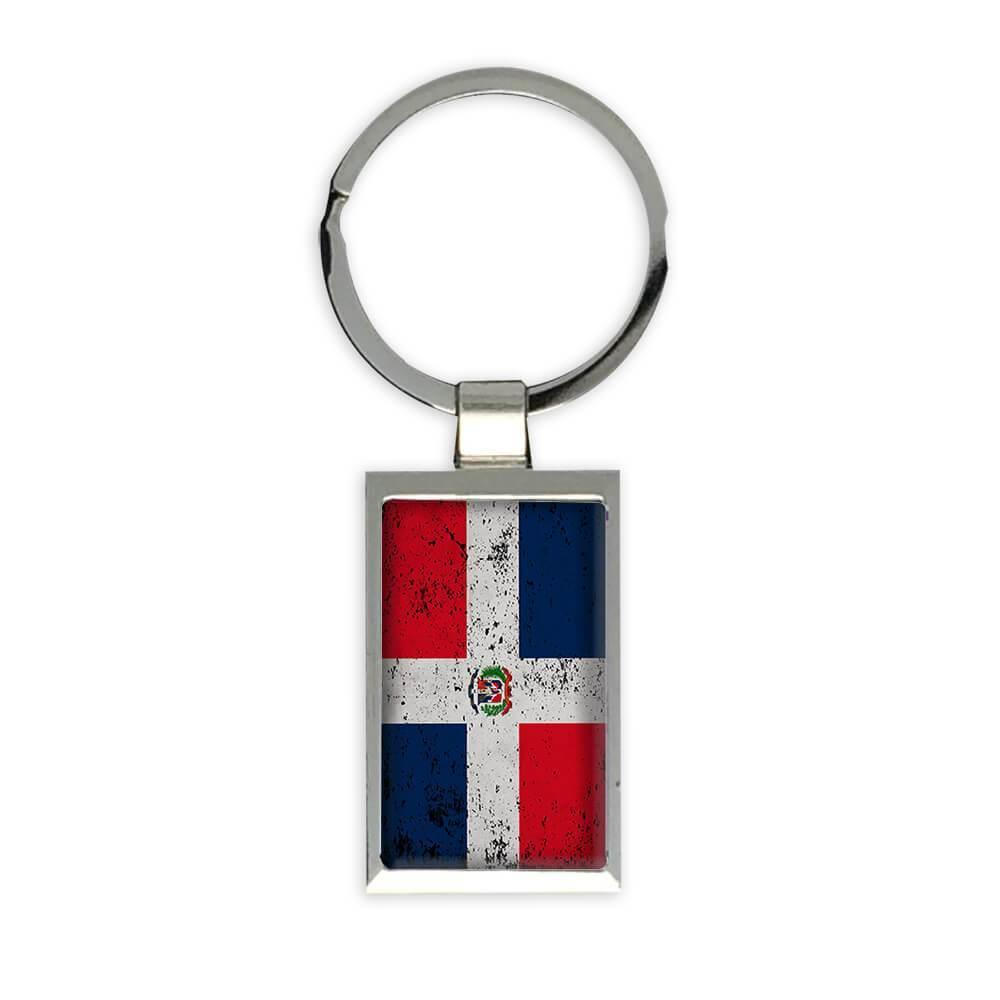 Dominican Republic : Gift Keychain Flag Retro Artistic Dominican Expat Country