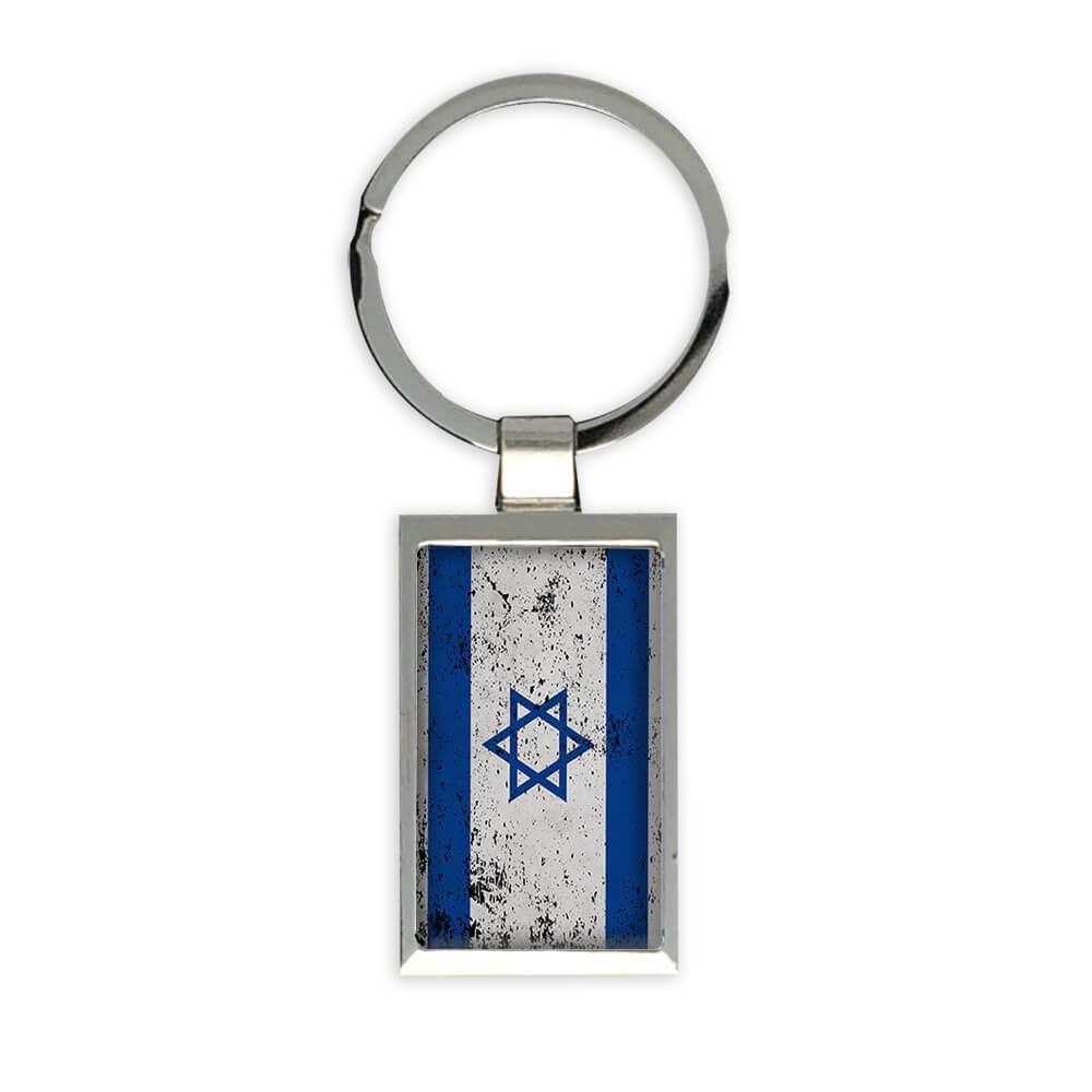 Israel : Gift Keychain Flag Retro Artistic Israeli Expat Country
