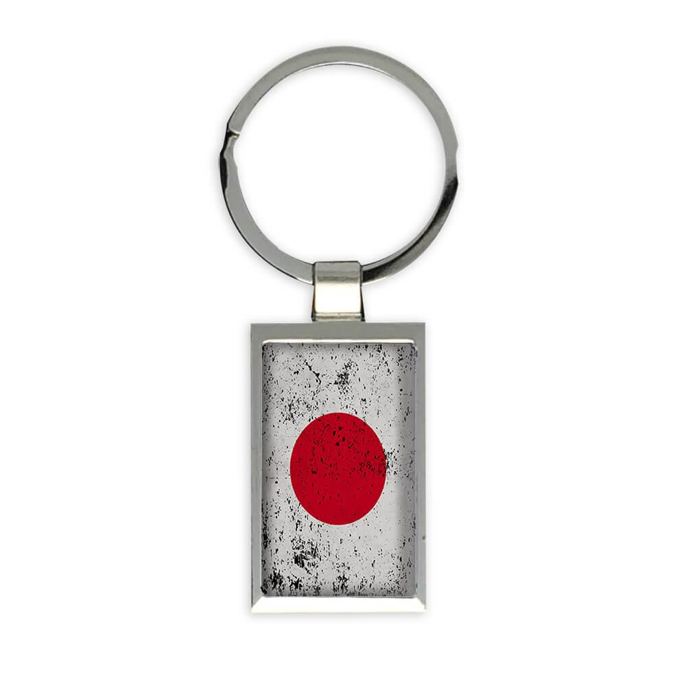 Japan : Gift Keychain Flag Retro Artistic Japanese Expat Country