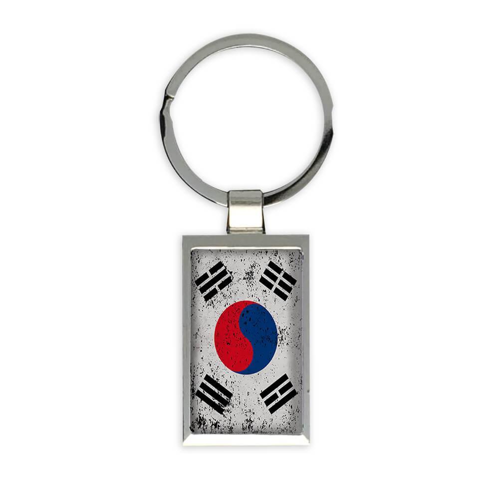 South Korea : Gift Keychain Flag Retro Artistic Korean Expat Country