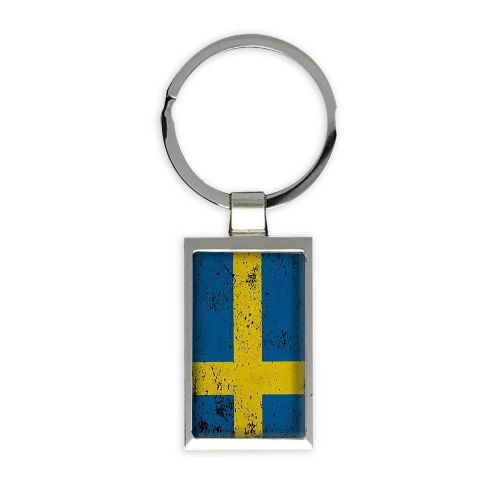 Sweden : Gift Keychain Flag Retro Artistic Swedish Expat Country