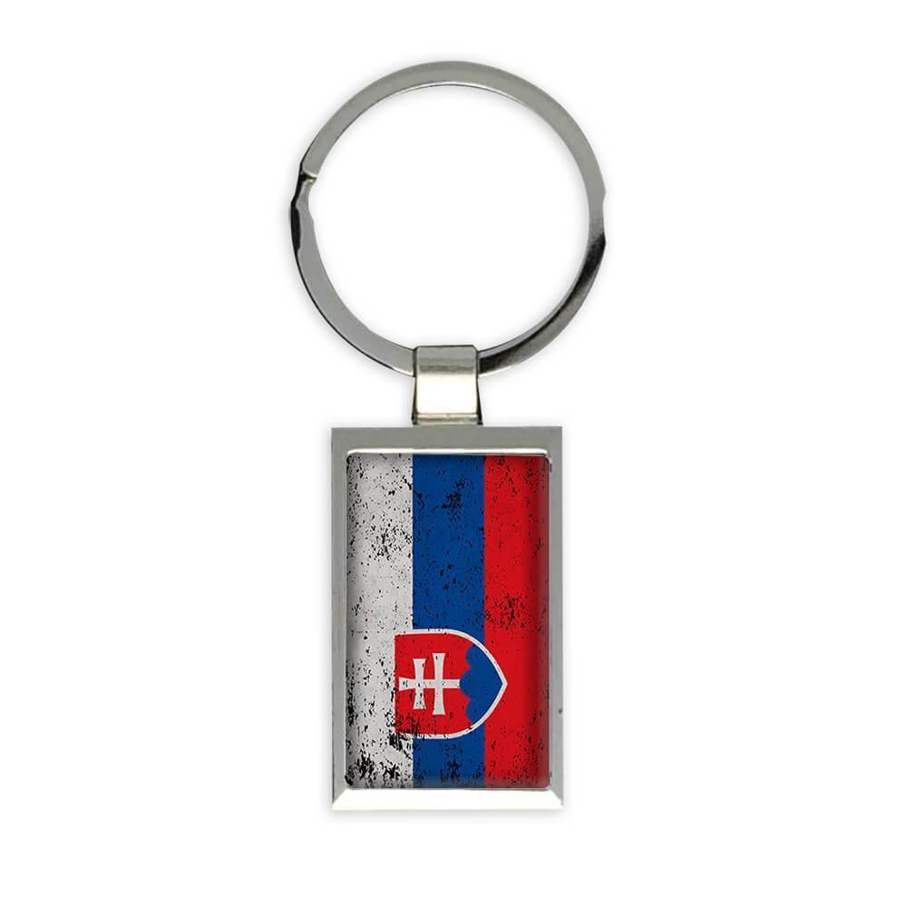Slovakia : Gift Keychain Flag Retro Artistic Slovak Expat Country