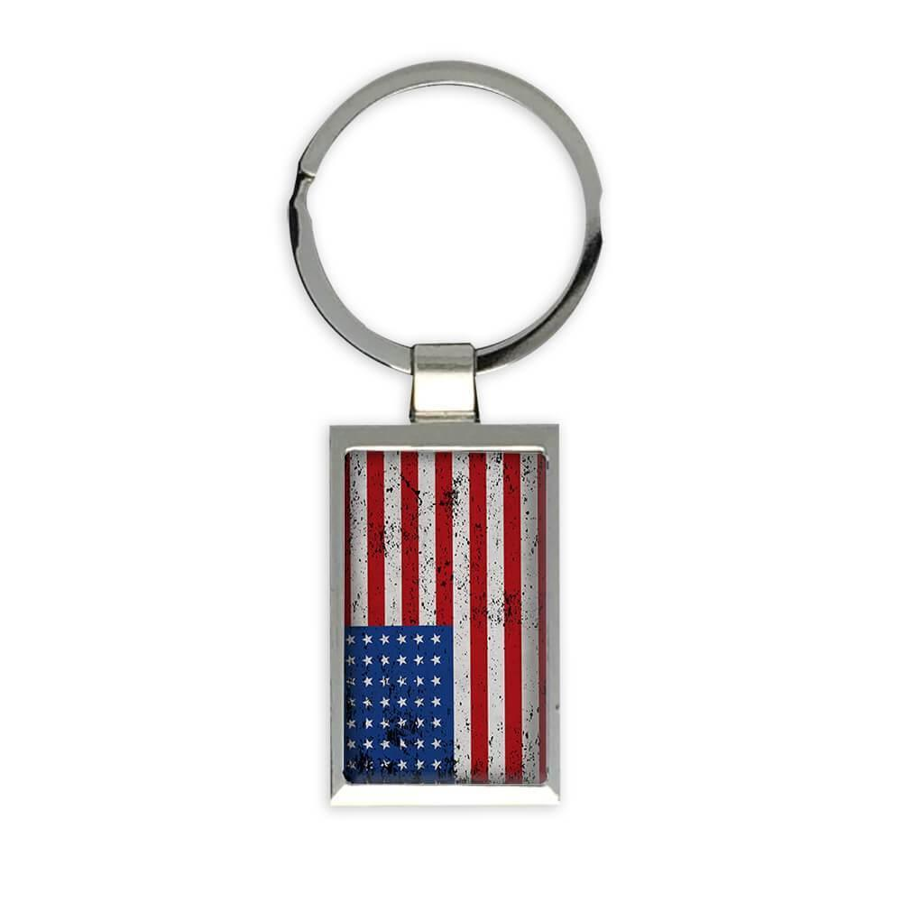 United States : Gift Keychain Flag Retro Artistic Expat Country