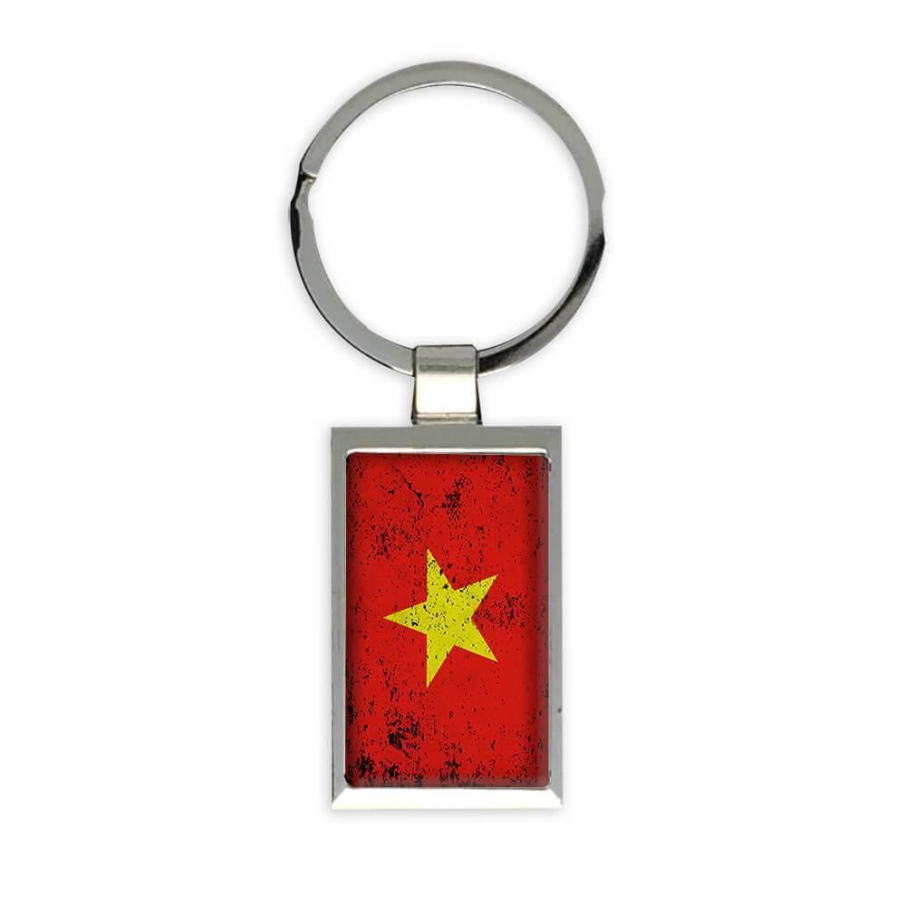 Vietnam : Gift Keychain Flag Retro Artistic Vietnamese Expat Country