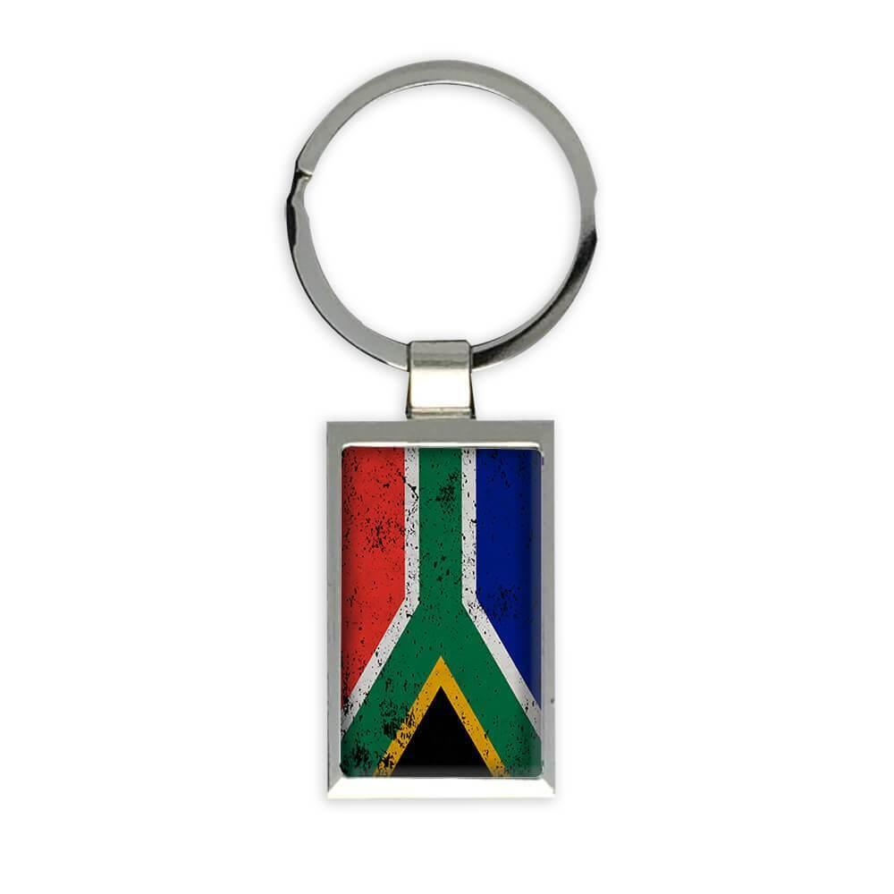 South Africa : Gift Keychain Flag Retro Artistic South African Expat Country