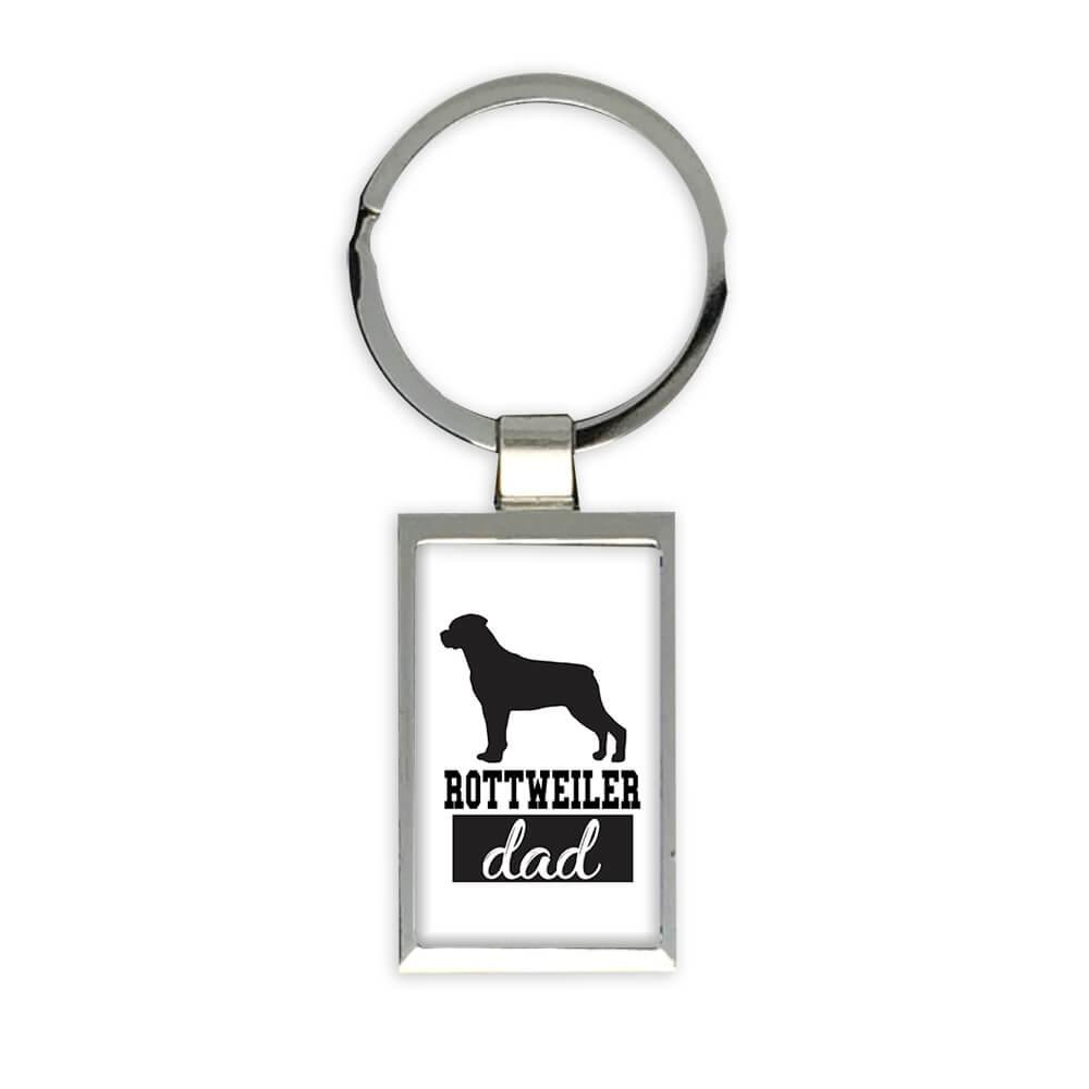Rottweiler DAD : Gift Keychain Dog Silhouette Cup Funny Pet Animal Father