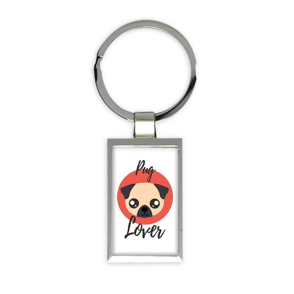 Pug Lover : Gift Keychain Dog Cartoon Funny Owner Heart Cute Pet Mom Dad