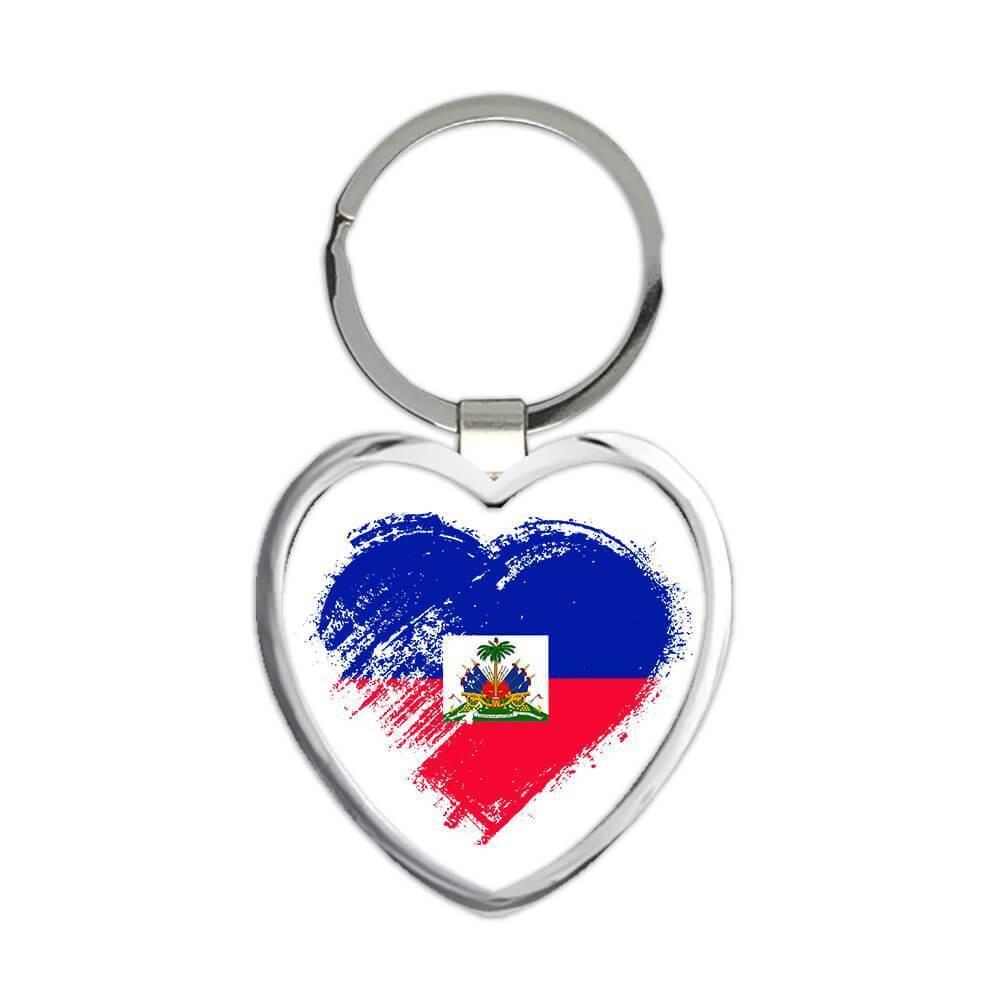 Haitian Heart : Gift Keychain Haiti Country Expat Flag Patriotic Flags National
