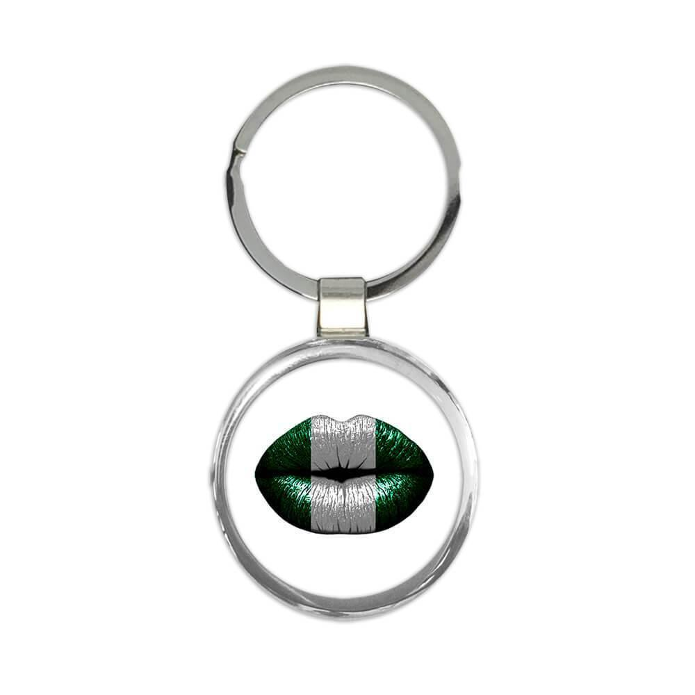 Lips Nigerian Flag : Gift Keychain Nigeria Expat Country For Her Woman Feminine Women Sexy Flags Lipstick