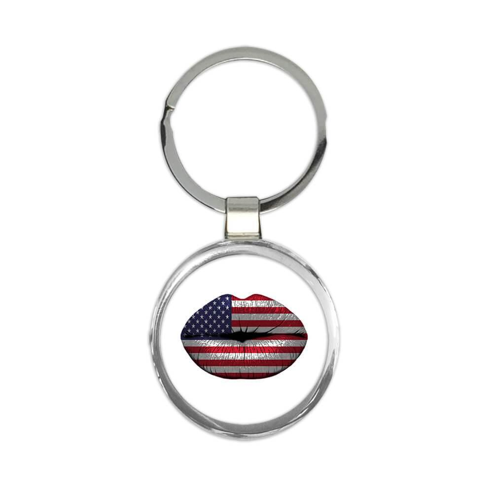 Lips American Flag : Gift Keychain United States Expat Country
