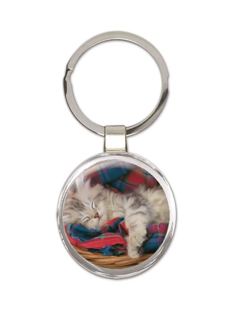 Cat : Gift Keychain Sleeping Cute Funny Animal Pet Kitten