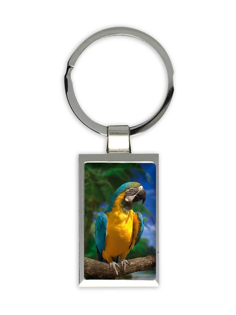 Macaw Tropical Beach : Gift Keychain Parrot Bird Animal Cute