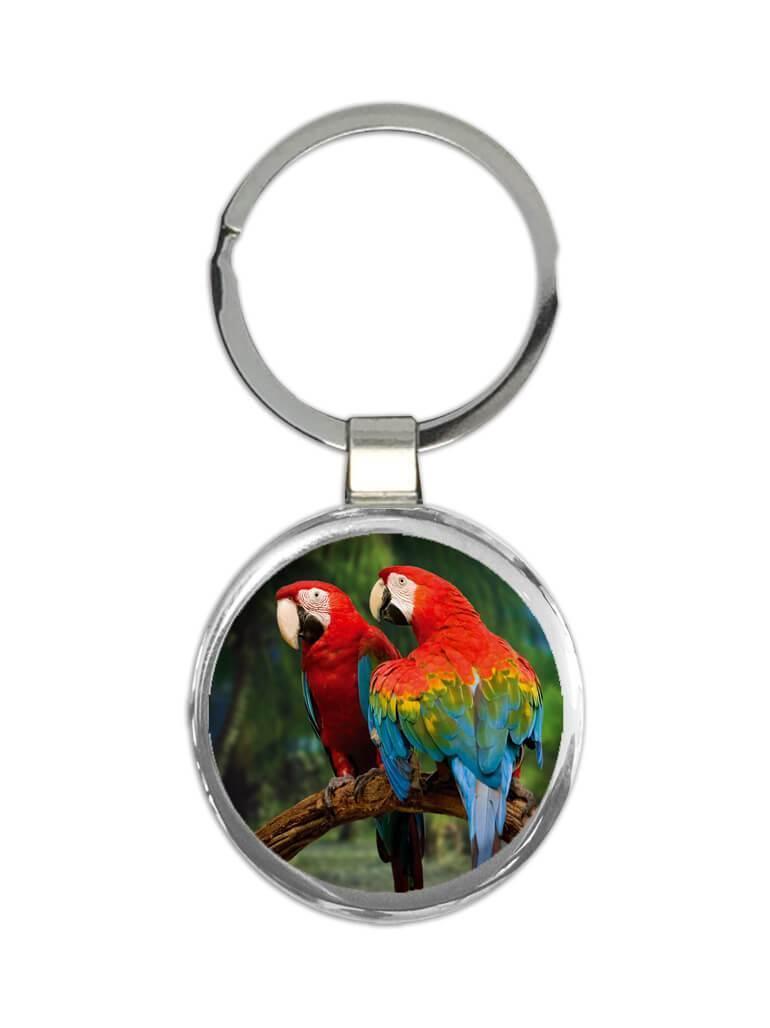 2 Macaws Branch Tropical Beach : Gift Keychain Parrot Bird Animal Cute