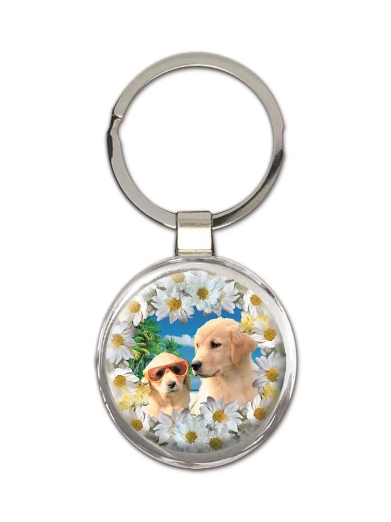 Labrador Retriever : Gift Keychain Decor Cute Flowers Dog Lovers