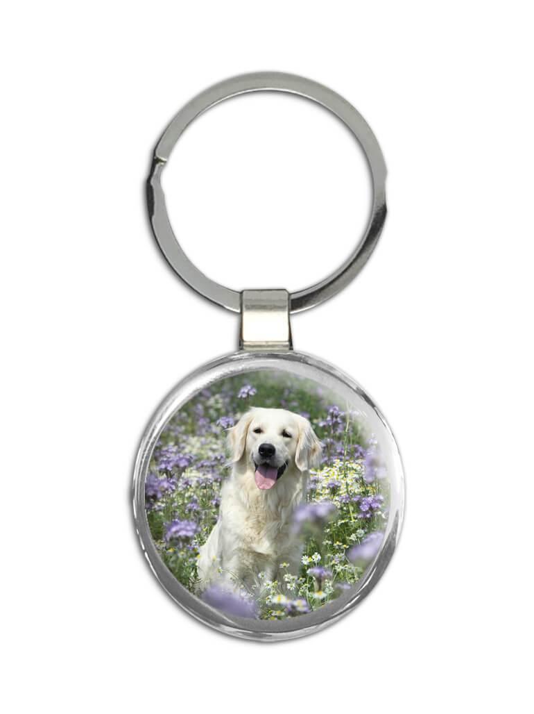 Golden Retriever Flowers : Gift Keychain Dog Pet Animal Puppy