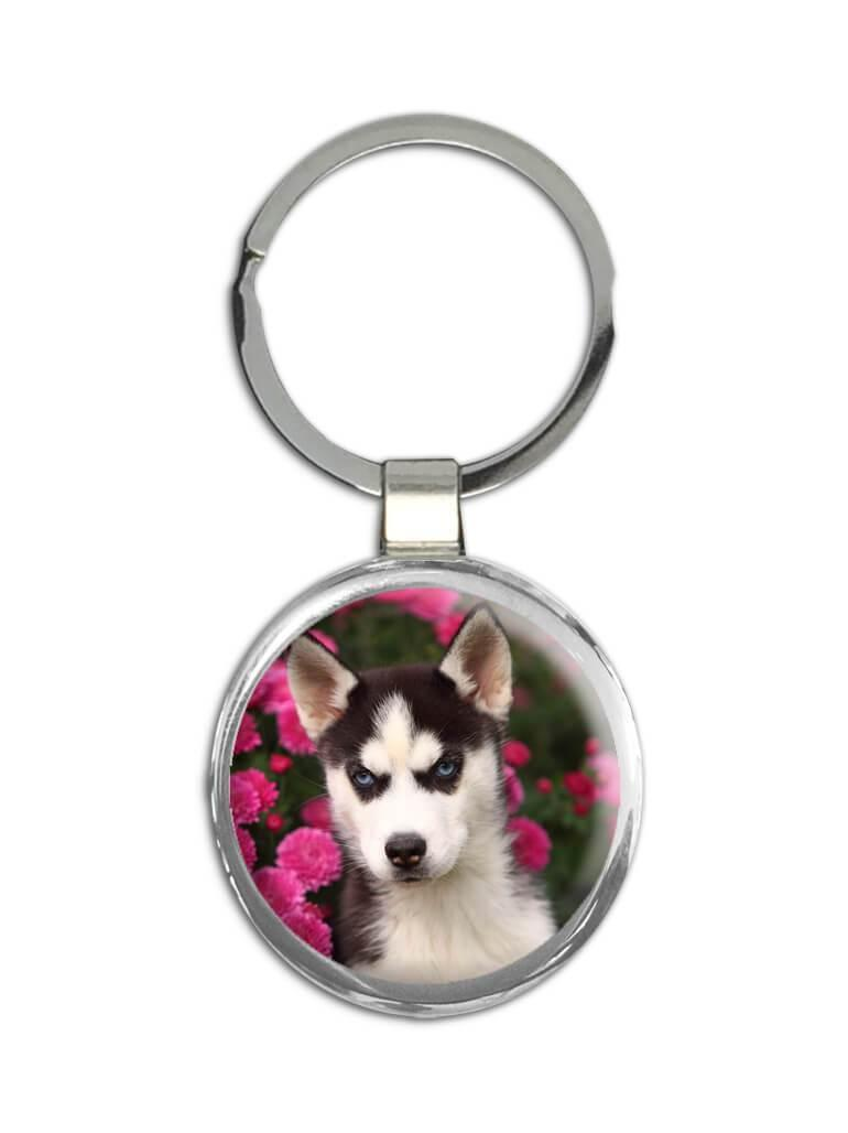Siberian Husky Mom Flowers : Gift Keychain Dog Pet Puppy Floral Animal Cute