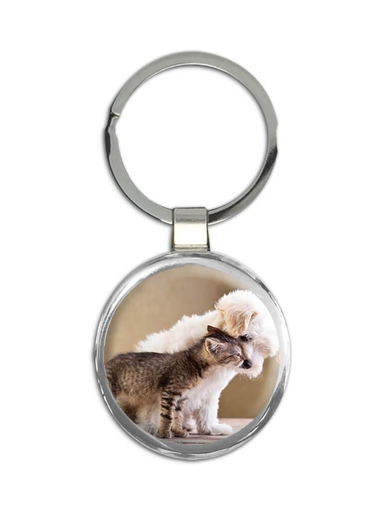 Dog And Cat Kissing Best Pals : Gift Keychain Pet Puppy Animal Cute Friend Friendship