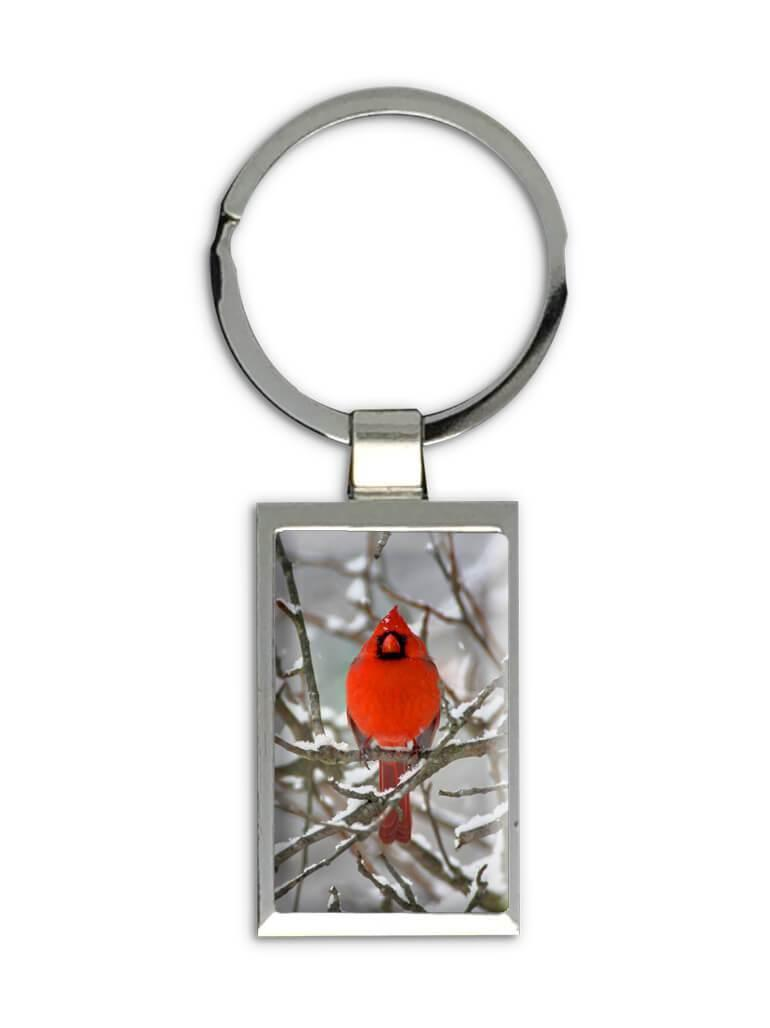 Cardinal Bird : Gift Keychain Snow Winter In Memory of Lost of Loved One
