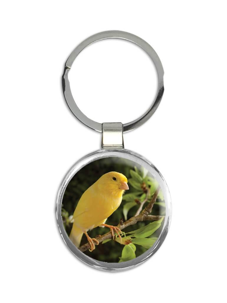 Canary : Gift Keychain Bird Animal Nature Watchers Ecology Exotic Yellow Floral